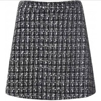 black and white tweed a-line skirt