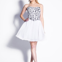 White & Silver Sequin Sweetheart Tulle Cocktail Dress Homecoming 2014