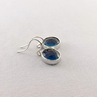 Montana Blue Faceted With Silver Earrings