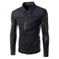Color Block Turn-down Collar Button Down Jacket