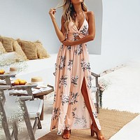 Backless Beach Chiffon Women Dress Halter V Neck Crop Bow Maxi Dress Split Boho Floral Sexy Dress
