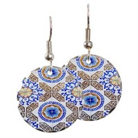 Italian Blue And Brown Pattern Earring> Blue Italian Tile Abstract > Daphsam's Photography and Art