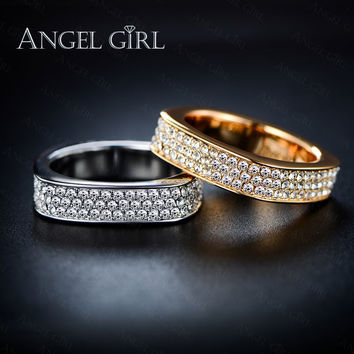 Angel Girl 2016 new Unique Square Filigree Wedding Ring with Micro 3 Rows of crystal  Real Gold Plated Jewelry For Women