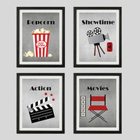 Popcorn Showtime Action Movies Home Theater Art Prints CUSTOMIZE YOUR COLORS, 8x10 Prints, set of 3, nursery decor print art baby decor