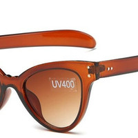 Women's Awesome Clear/Translucent Cat Eye Brown Sunglasses