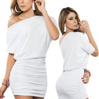 Sexy White Off Shoulder Short Sleeve Mini Dress - Extra Large