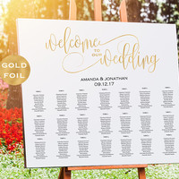 Gold Wedding Seating Chart Printable -  Alphabetical Seating Chart - Welcome To Our Wedding Sign - Gold -  Downloadable wedding #WDHSN8182