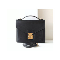 LOUIS VUITTON Black Epi Monceau Authentic Vintage handbag