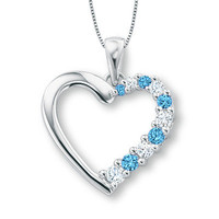 Blue Topaz and Lab-Created White Sapphire Journey Heart Pendant in 10K White Gold - View All Necklaces - Zales