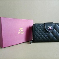 """Chanel"" Women Solid Color Rhombus Grid Zip Purse Short Section Wallet"