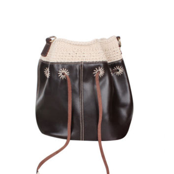 Bucket Bag/Women Leather Tote Bag, Large Soft Leather Bag, Distressed Leather Bag,Handwoven bag