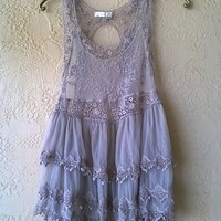 Free People Gypsy lace tiered bohemian festival top