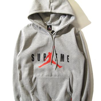 Best Deal Online Men's Supreme X Air Jordan Men Hoodie Sweatshirt Gray