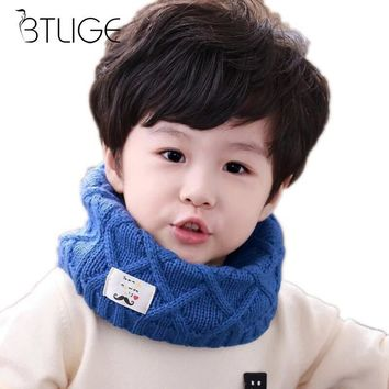 BTLIGE Cute Cotton Winter Baby Scarf Children Girls Boys Knitted Wool O Scarves Kids Solid Color Warm Scarf