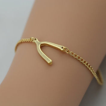 Gold Wishbone Bracelet, Anklet, Cross Bone Bracelet, Personalized Bridesmaids Jewelries, Graduation Birthday Friendship Gifts, Trending