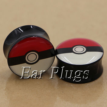 1 pair pokeball plugs acrylic saddle ear plug gauges tunnel body piercing jewelry PSP0005