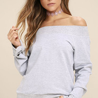 Dancing for my Life Heather Grey Off-the-Shoulder Sweatshirt