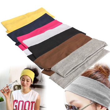 2PCS Sporty Yoga Dance Biker Wide Headband Stretch Ribbon Hairband Elastic = 1932719364