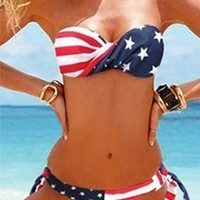 Red White Blue Stars Stripes American Flag Bandeau Halter Top Tie Side Hipster Bottom Two Piece Bikini Swimsuit
