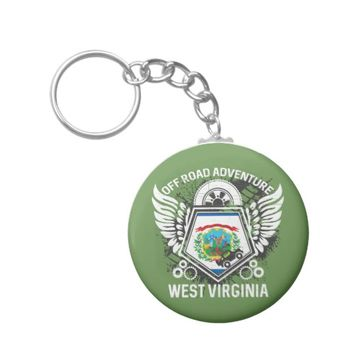 West Virginia State Flag Off Road 4x4 Bogging Keychain
