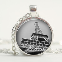 Pendant with Chain - Eiffel Tower silver Pendant (view from bottom) Valentine's Day