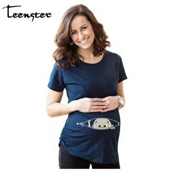 Teenster Women T-shirts Tees Maternity Clothes Cartoon Maternity Nursing Tops Funny Pregnancy Casual T Shirts for Pregnant Women