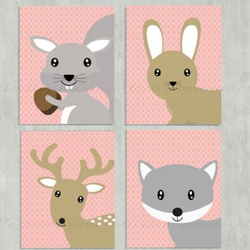 Nursery Art Prints / forrest animals / 8x10 inch / 4 piece set / pink / fox bunny squirrel deer / for baby girl room decor / wall artwork