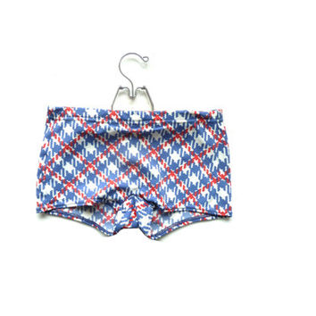vintage 50s 60s BRITISH FLAG swimming briefs . bri-nylon trunks . dog tooth pattern . james bond 007 . made in great britain . swimwear