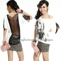 Womens Sexy Tassels Backless Short Batwing Tops T-shirt Casual Party