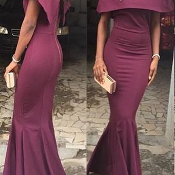 Burgundy Plain Bandeau Boat Neck Off Shoulder Mermaid Wedding Gowns Maxi Dress