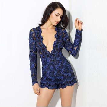 Deep V collar flowers lace material Romper