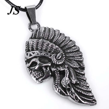 JS Vintage Retro Colar Masculino Couro Gothic Men Jewelry Native American Indian from India Male Leather Rope Necklace LN007