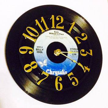 Vinyl Record Clock, Record Clock, Wall Clock, Billy Idol Record, Recycled Record, Upcycle, Battery & Wall Hanger included, Item #58