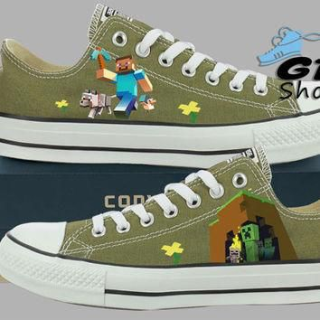 Hand Painted Converse Low Sneakers. Minecraft Video Game. Handpainted Shoes.