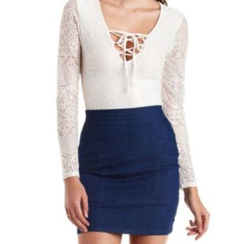 Ivory Lace Bodysuit with Front Tie by Charlotte Russe