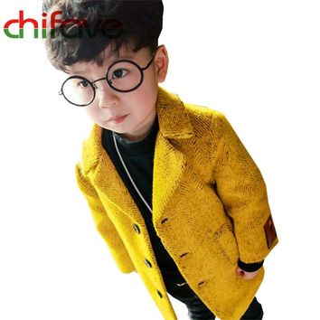 2017 New Autumn Winter Toddler Boys Kids Coats Long Sleeve Turn-down Collar Single Breasted Solid Warm Jackets for Infant Boys