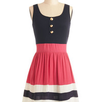 ModCloth Nautical Mid-length Tank top (2 thick straps) A-line Schooner Said Than Done Dress in Pink