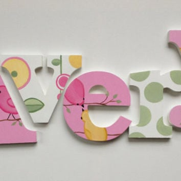 Hand Painted Birds Themed Wooden Wall Name Letter Art / Hangings for Girls Rooms, Play Rooms and Nursery Rooms