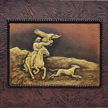 golden eagle, wall hanging, kyrgyz borzoi, nomad ,mountain, wall decor, gift ,artwork 3D, leather handmade, horse, hunting dog,hunting eagle