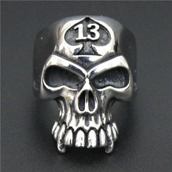 Ghost Era - Lucky 13 Skull Ring - Silver