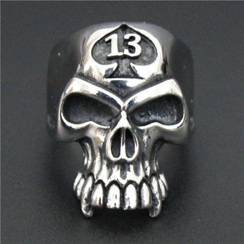 Drop Ship Lucky 13 Biker Ring Stainless Steel Jewelry Spade Skull Ring Band Party Ring