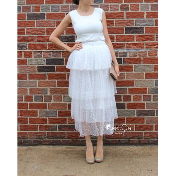 Crystal White Polka Dot Tiered Tulle Skirt - Maxi / Tea Length