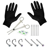 BodyJ4You 15-22PC Professional Piercing Kit 18G 20G Nose Rings Studs Stainless Steel Body Jewelry