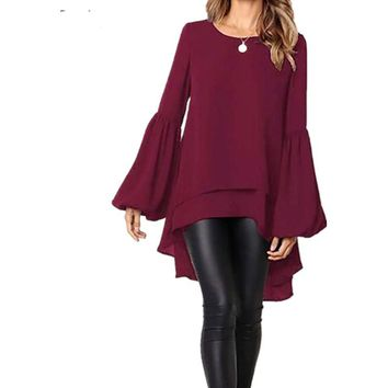 ZANZEA Womens Long Sleeve Summer Casual Loose High Low Blouses