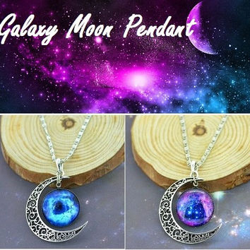 Glass Galaxy Moon Pendant: Special Edition