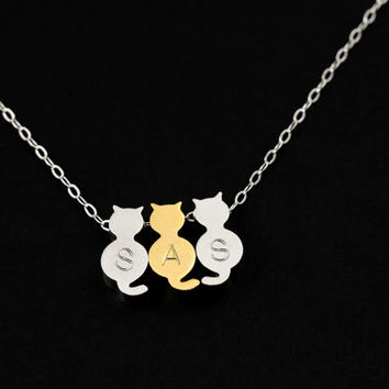 Personalized Cat Necklace, Cat Charm Monogram Necklace, Personalize Initial, Pet Memorial, Silver Chain, Silver and/or Gold Kitties