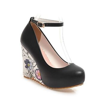 Ankle Strap Flower Print High Heel Wedge Shoes Buckle Up Platform Pumps