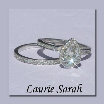 Pear Shaped Diamond Engagement Ring and by LaurieSarahDesigns