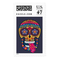 Day of the Dead, Sugar Skull Halloween Stamp