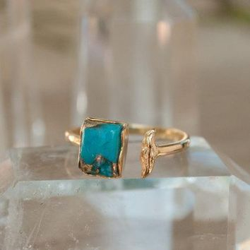 Raw Turquoise Ring in a copper mounting